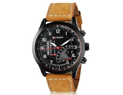 Reloj análogo de cuarzo CURREN 8152 de los hombres con la correa de cuero de imitación M.: Amazon.es: Relojes