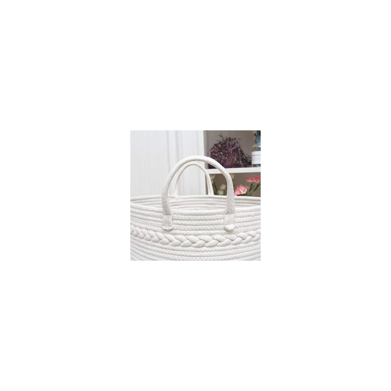 COMEMORY Woven Cotton Rope Basket, Laundry Basket with Easy-Grip Sturdy Handles and Decorative Braid, Decorative Blanket Storage, Baby Nursery Bin for Home Decor and Organizing