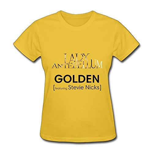 PTHF Womens Lady Antebellum Golden Feat Stevie Nicks Cotton Tee Shirt L Yellow