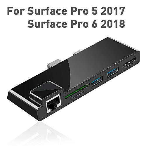 【Upgraded version】Surfacekit Surface Pro 5/6 USB Hub Docking Station with 1000M Ethernet Port, 4K HDMI, 2 x USB 3.0 Ports, SD/Micro SD Card Reader,LAN Adapter for the 5th/6th-gen Surface Pro 2017/2018