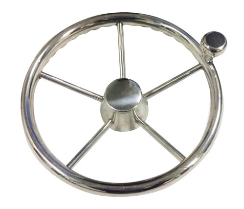 Woqi WH005 stainless steel marine steering wheel with knob