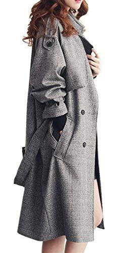Donna Invernali Cintura Vento 1 Manica Di Inclusa Grau Reticolo Giubotto Trench Moda Bavero Double Giacca Breasted Laterali Lunga Cappotti Tasche Abbigliamento qqr5Aw4