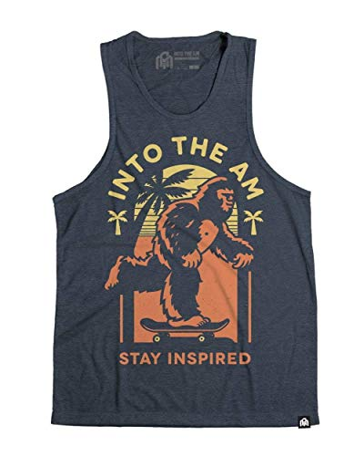 INTO THE AM Missing Link Men's Heathered Sleeveless Tank Top Shirt (Navy, X-Large) ()