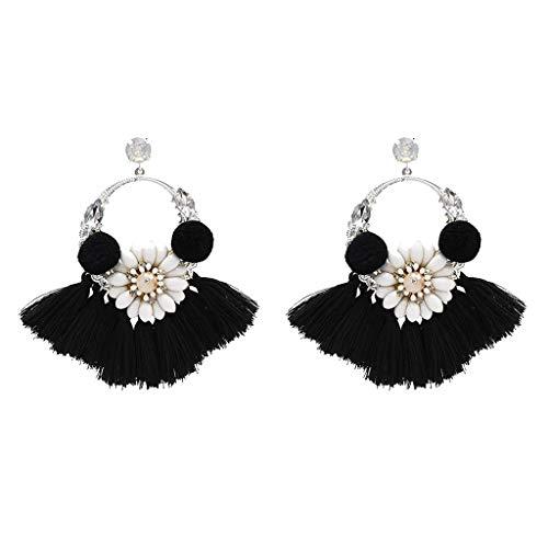 LONG6ge Women Vintage Inlaid Rhinestone Fringed Plush Ball Earrings Pendant Ladies Jewelry (Black)
