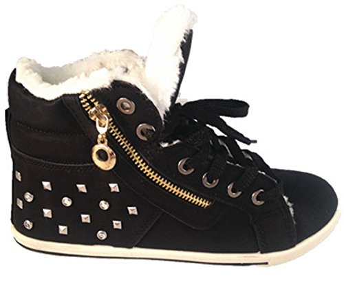 basket fourrées femme MONTANTES BOTTINES BOOTS MODE chaud boot NOIR MD923