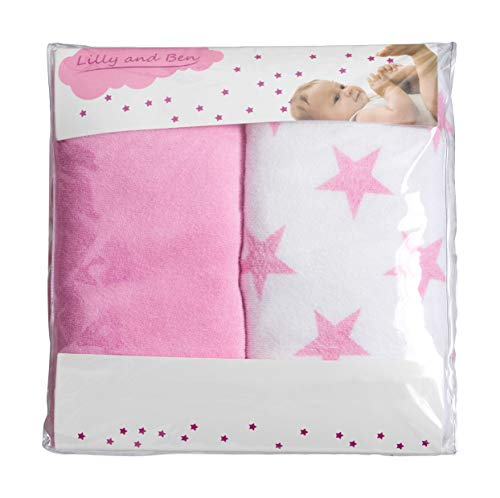 Diaper Change Pad Cover-s Girl Boy - Contoured Changing Mat Cover - Set of 2 - Pink White Stars (Changing Terry Baby Pad)