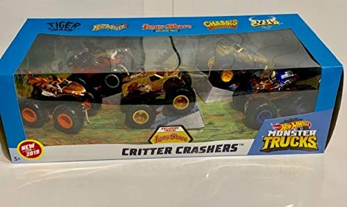 (2019 Hot Wheels Critter Crashers Monster Trucks 5 in 1 with 1 Exclusive! -- Tiger Shark, Hot Weiler, Lions Share, Chassis Snapper, Steer Clear)