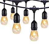 Outdoor String Lights, 48Ft Heavy-duty Commercial Weatherproof Patio Black Connectable Light Strand with 24 Hanging Sockets and 30 S14 Bulbs for Bistro Porch Garden Deck Café or Party Wedding Festival