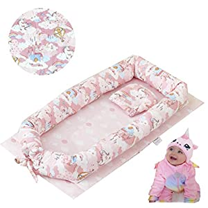 Brandream Baby Nest Bed Unicorn, Pink Baby Lounger, Portable Newborn Bassinet Crib for Travel/Bedroom Perfect for Co-Sleeping 100% Cotton Breathable & Hypoallergenic, Cloud& Star Print Shower Gift