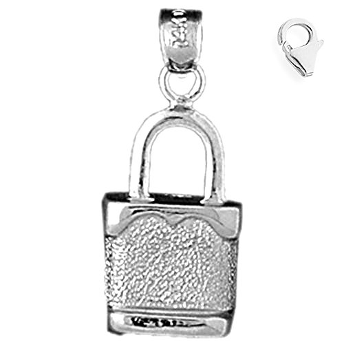Jewels Obsession Padlock | 14K White Gold Padlock, Lock Charm Pendant - 25mm