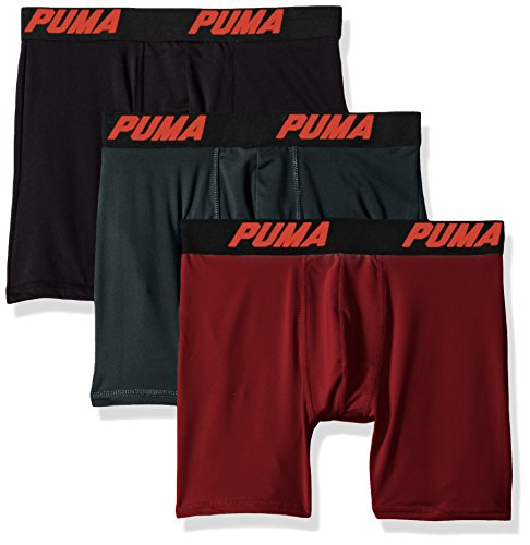 PUMA Men's Volume Boxer Brief (3-Pack), Dark red, Extra Large (Planet Underwear)