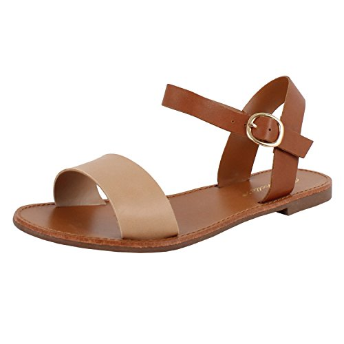 Womens Open Toe Ankle Strap One Band Comfort Flat Buckle Flats-Sandals (8 M, Natural Pu)