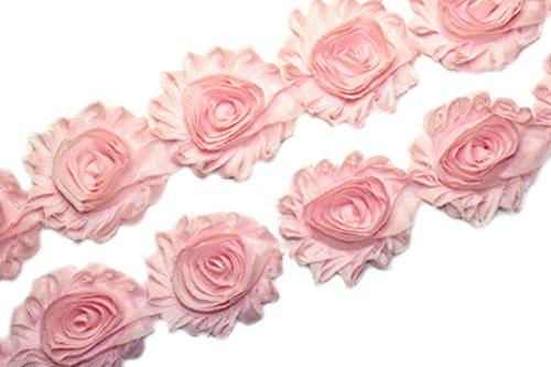 (28 pieces) JLIKA Light Pink Shabby Chiffon Fabric Flowers 2.5