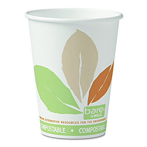SOLO Cup Company 412PLNJ7234 Bare  by Solo Eco-Forward PLA Paper Hot Cups, 12oz,Leaf Design, 50 Per Bag (Case of 20 Bags) by Solo Foodservice