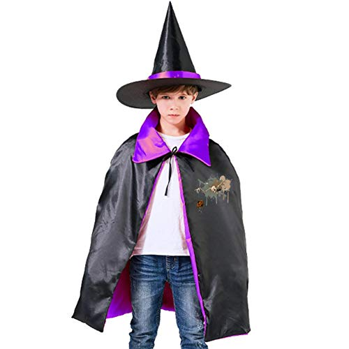Halloween Skeleton Puppet Children's Ghost Festival Costumes Satin Cloth Witch Cloak Robe Cape Hat Purple,Red -