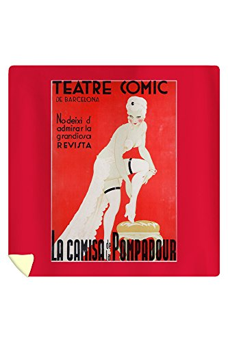 Teatre Comic de Barcelona - La Camisa de la Pompadour Vintage Poster Spain (88x88 Queen Microfiber Duvet Cover) by Lantern Press