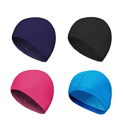 Fabric Nylon Colour - SunTrade 4-Pack Man Women Pure Color Nylon Spandex Fabric Swim Cap Swimming Cap Bathing Cap