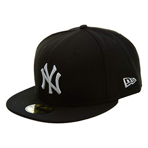New Era New York Yankees Basic 59Fifty Fitted Cap Hat Black/White 11591127 (Size 7 3/8)