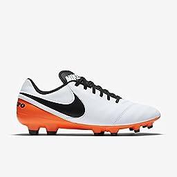 Nike Tiempo Genio II Leather IC Men\'s White/Black-Total Orange Shoes - 11.5