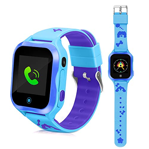(DUIWOIM Waterproof Watch Smart Watches for Kids Phone Watch Accurate GPS Tracker with SOS and Pedometer with Camera Game Watch Children Electronic Learning Toys Boys Girls Best Birthday Gift (Blue))