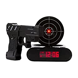 DELIWAY Newwest Version Novelty USB Gun Alarm Clock Funny Target Shooting Game Toys Gifts for Chirstmas New Year (Black)