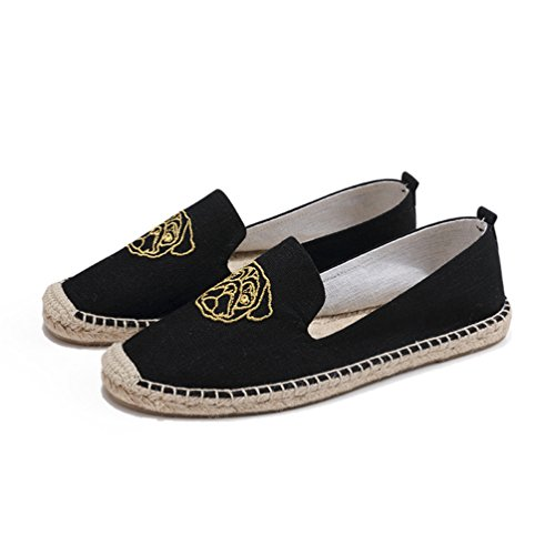 Casuale Espadrille Loafers Jitong Donna Pantofole Outdoor Bello on Per Nero Punta Basse Chiusa Slip pqzPz5w