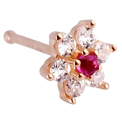 Christina Nose Ring (Christina Red Flower 14K Yellow Gold Nose Ring Bone 20G)