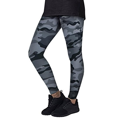 Price comparison product image Anxinke Women Yoga Pants,  Fashion Camouflage Workout Gym Trousers Tights Athletic Leggings (Gray,  XL)