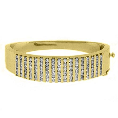14k Yellow Gold 5.68 Carat Round Channel Set Diamond Bangle ()