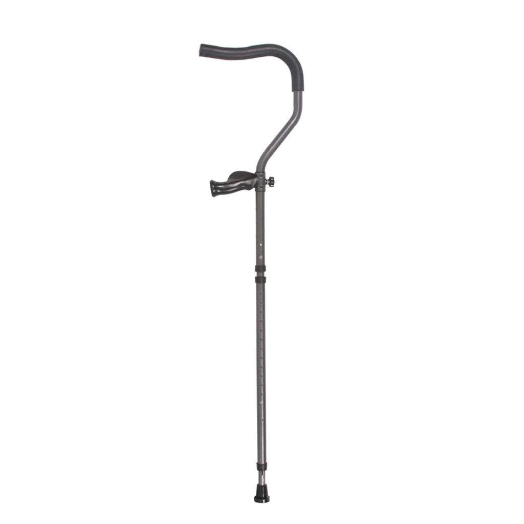 AA + 折りたたみ式N型脇の下松葉杖、調節可能な高さグレー滑り止めウォーキングスティック、ゴム底付きの耐久性のあるアルミ合金ウォーカー