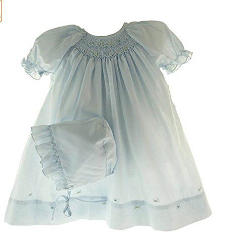 Blue Smocked Dress (Newborn Baby Girls Layette Blue Smocked Take Home Day Dress Petit Ami (NB))