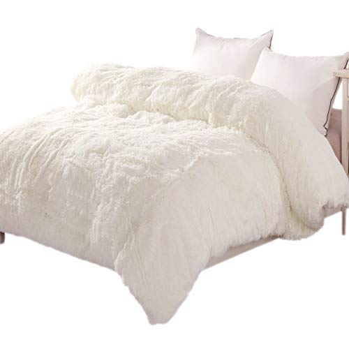 LIFEREVO Luxury Shaggy Plush Duvet Cover 1 PC Crystal Velvet Mink Reverse Ultra Soft Hidden Zipper Closure,Queen Light Beige