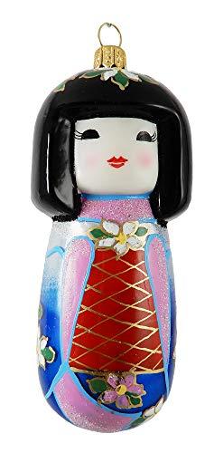 Ornament Glass Doll - Kokeshi Doll Asian Japanese Japan Folk Girl Blue Polish Glass Christmas Ornament Souvenir Decoration