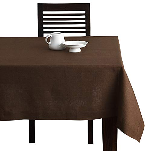 en Tablecloth - 52 x 52 Inch Brown, European Flax, Natural Fabric - Athena Square Tablecloth for Indoor & Outdoor use ()