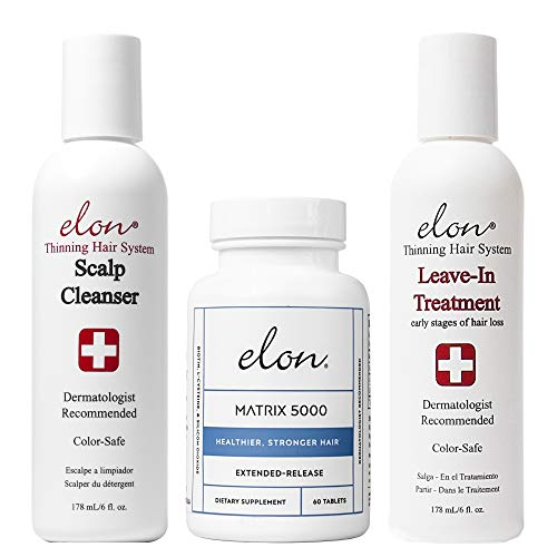 Elon Thinning Hair System for Early Hair Loss | Dermatologist Recommended | Elon Scalp Cleanser, Elon Leave-In Treatment & Elon Matrix 5000 Hair Vitamins (60 tablets)