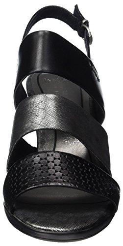 Marco Tozzi Premio 28332, Sandalias con Cuña para Mujer Negro (Black Ant.comb 096)