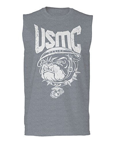 Bull Dog USMC Marine Corp USA American United America Seal Men's Muscle Tank Top Sleeveless t Shirt (Light Gray Medium) (Corps Tank Top Marine Men)