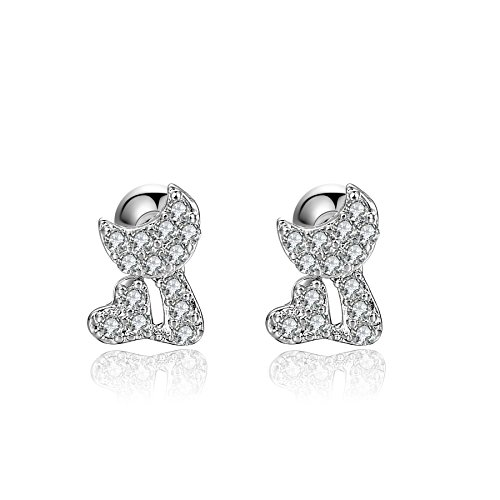18g Cat Moon 316l Surgical Steel Sailor Cartilage Piercing Earrings Sleeper Stud Earrings For Girls Women 2 Pieces (White Gold Plated)