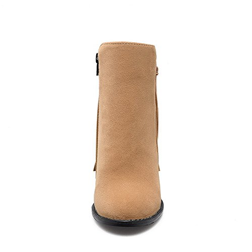 Low Round Toe AgooLar Yellow Top High Women's Boots Solid Closed Heels Frosted 05C4qCw1
