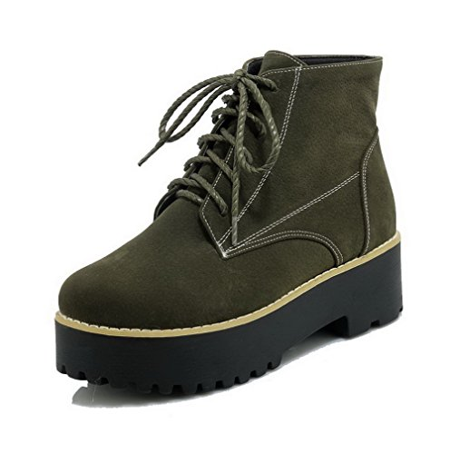 Allhqfashion Womens Kitten-hakken Frosted Low-top Stevige Veterschoenen Groen