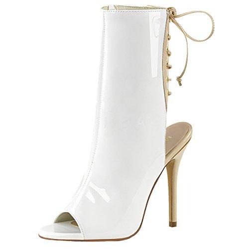 High-Heels Stiefelette, Damen Peep Toe, Weiss Weiss (weiss)
