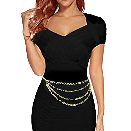 Chain Link Tone Belt Silver (Women's Dressy, Casual Hang Low Multi Link Chain 4 or 5 Layer Waist Chain Belt in Gold, Silver Tone (Style 2 / Gold))