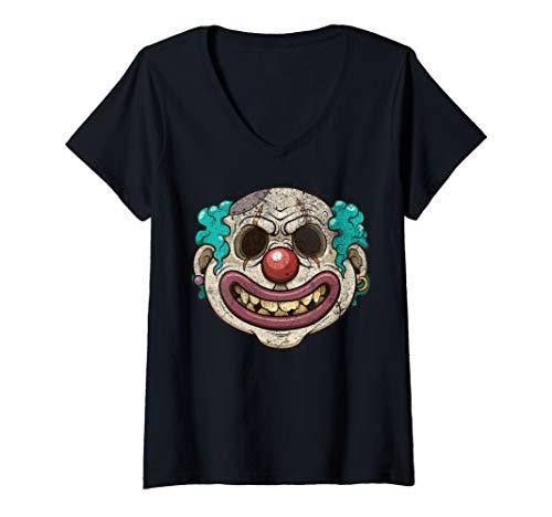 Womens Zombie Clown Scary Horror Halloween Night Party Costume Tee V-Neck