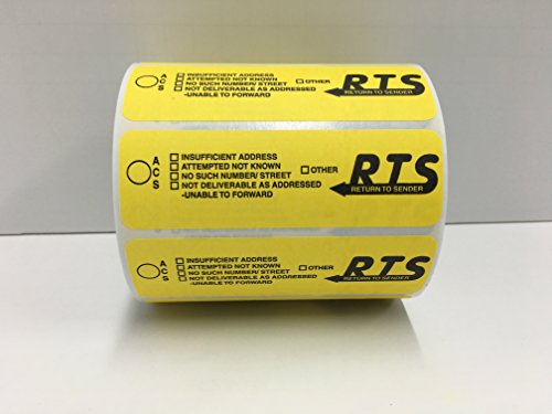 4x1-1/4 Yellow RTS Return To Sender Special Handling Instructions Mailing Shipping Stickers 500 labels per roll]()