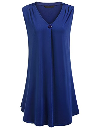 Womens Plus Size Sleeveless V Neck Flowy Tunic Top - Ladies Solid Button Decor Swing Casual Office Tank,20 Plus,Blue by Zeagoo