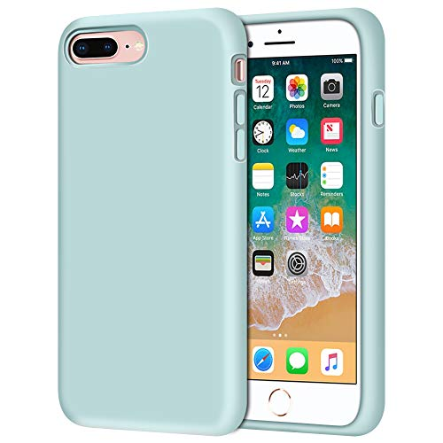 """iPhone 8 Plus Case, iPhone 7 Plus Case, Anuck Soft Silicone Gel Rubber Bumper Case Microfiber Lining Hard Shell Shockproof Full-Body Protective Case Cover for iPhone 7 Plus /8 Plus 5.5"""" - Mint"""