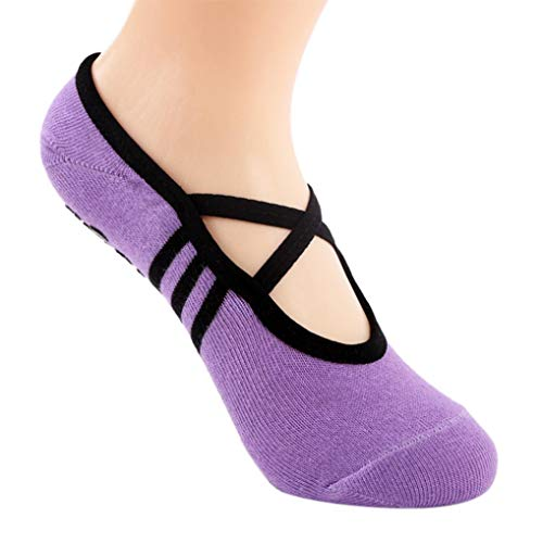 Socks, FORUU Sales 2019 Winter Warm Under 10 Best Gift 1 Pair Yoga Fitness Non Slip Pilates Massage Ballet Exercise Gym Purple ()