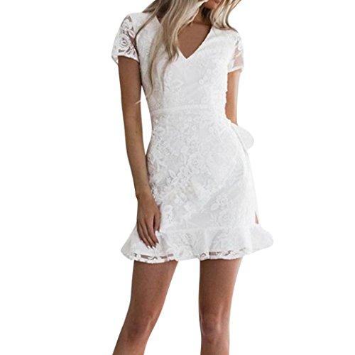JYC Playa Vestido Mujer Verano 2018,Vestidos Elegantes Encaje,Vestidos Mujer Corto Vintage Mangas, Mujer Cordón Corto Manga Bodycon Cóctel Fiesta Lápiz Vendaje Vestidos Blanco