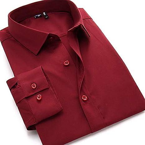 IYFBXl Camisa básica de Hombre - Color sólido, Vino, 38: Amazon.es: Deportes y aire libre