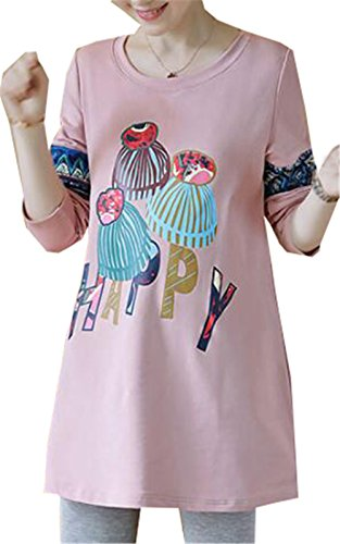 BESTHOO Magliette Premaman Donna Top Stampate Divertenti Bluse Moda Allentato T-Shirt Maglia Manica Lunga Girocollo Magliette Pink